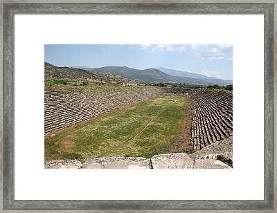 The Aphrodisias Stadium From The West Framed Print by Tracey Harrington-Simpson