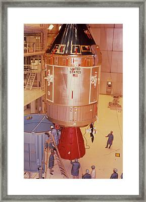 The Apollo 11 Spacecraft Being Prepared For Launch Framed Print by Nasa/science Photo Library
