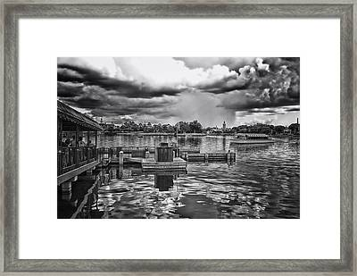 The Approaching Storm Walt Disney World Bw Framed Print by Thomas Woolworth