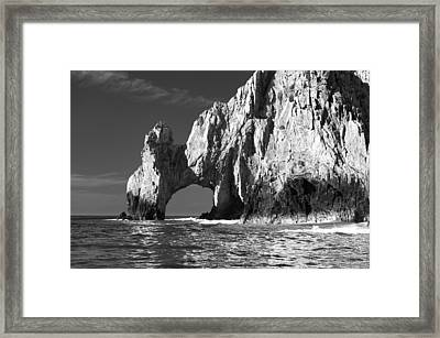 The Arch Cabo San Lucas In Black And White Framed Print