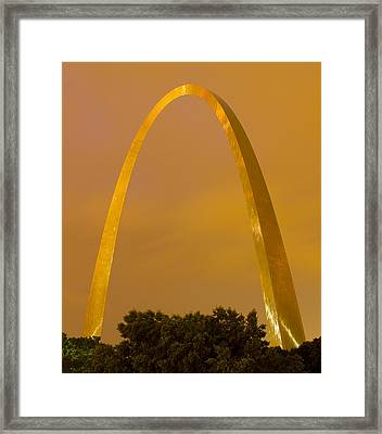 The Arch In The Glow Of St Louis City Lights At Night Framed Print