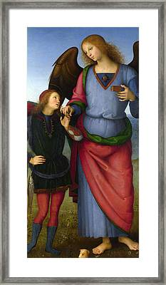 The Archangel Raphael With Tobias Framed Print by Pietro Perugino