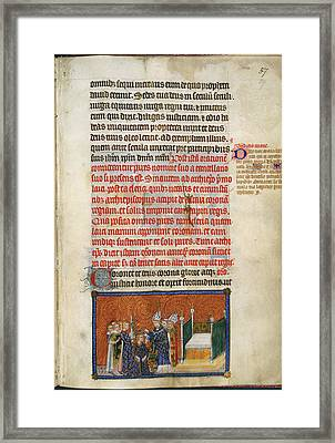 The Archbishop Crowns The King Framed Print by British Library