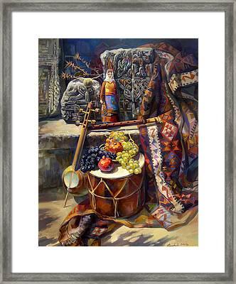 The Armenian Still-life With A Armenian Doll Framed Print by Meruzhan Khachatryan