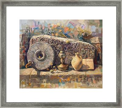 The Armenian Still-life With A Fragment Cross - Stone  Armenian Khachqar Framed Print by Meruzhan Khachatryan