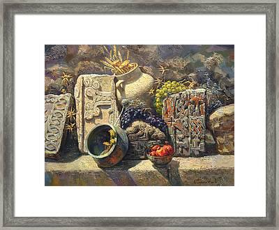 The Armenian Still Life With Cross  Stone Khachkar Framed Print by Meruzhan Khachatryan
