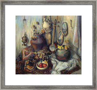 The Armenian Still-life With Culture Subjects Framed Print