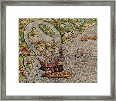 The Arrival And Disembarkation On The American Coast, From Americae Tertia Pars, 1592  Framed Print by Theodore de Bry