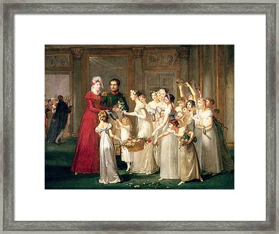 The Arrival Of Marie-louise De Habsbourg-lorraine 1791-1847 In The Gallery Of The Chateau De Framed Print by Pauline Auzou