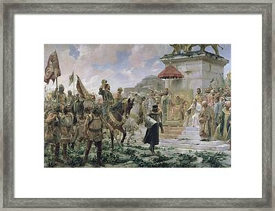 The Arrival Of Roger De Flor 1280-1307 In Constantinople In 1303 With 8000 Almogavares Serving Framed Print by Jose Moreno Carbonero