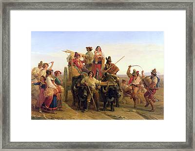 The Arrival Of The Harvesters In The Pontine Marshes, 1830 Oil On Canvas Framed Print by Louis Leopold Robert