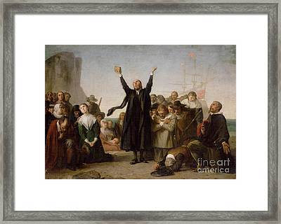 The Arrival Of The Pilgrim Fathers Framed Print by Antonio Gisbert