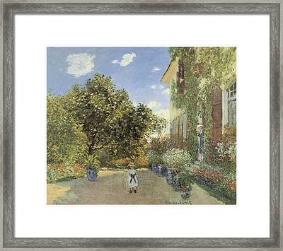 The Artist House At Argenteuil Framed Print by Claude Monet