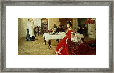 The Artists Daughter, 1905 Oil On Canvas Framed Print by Ilya Efimovich Repin