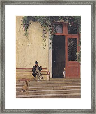 The Artist's Father And Son On The Doorstep Of His House Framed Print