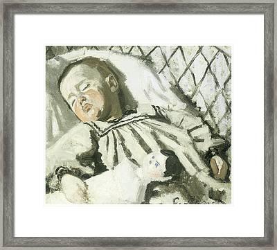 The Artist's Son Asleep Framed Print by Claude Monet