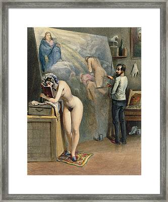 The Artists Wife Framed Print by French School