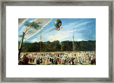The Ascent Of The Montgolfier Balloon At Aranjuez, C.1764 Oil On Canvas Framed Print