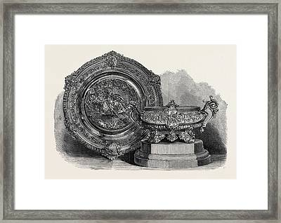 The Ascot Cup And Queens Cup Won At Ascot Races 1868 Framed Print by English School