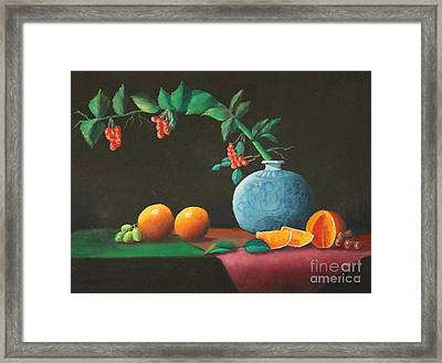 The Asian Vase And Oranges Framed Print