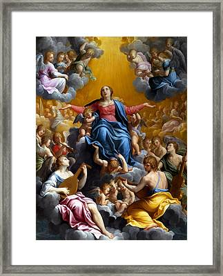 The Assumption Of The Virgin Mary Framed Print by Guido Reni