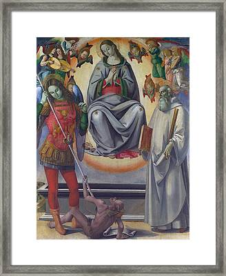 The Assumption Of The Virgin With Saints Michael And Benedict Framed Print by Luca Signorelli
