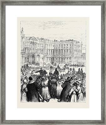 The Attempt On The Czars Life The Soltykoff Doorway Framed Print by English School