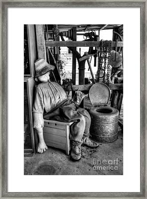 The Aussie Dunny Can - Black And White Framed Print