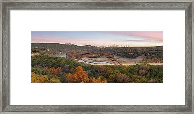 The Austin Skyline And 360 Bridge Pano Image Framed Print