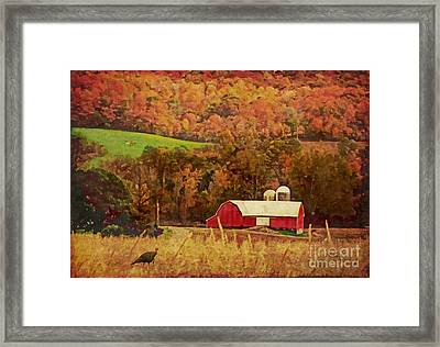 Framed Print featuring the digital art The Autumn Barn by Lianne Schneider