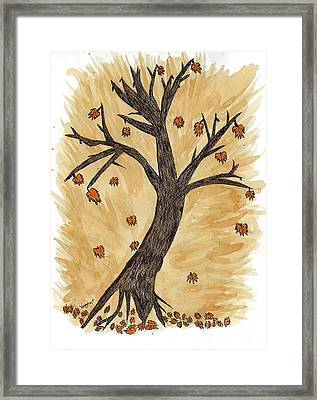 The Autumn Forest Will Die Happily To Re-birth A Tree Created With Tea Framed Print