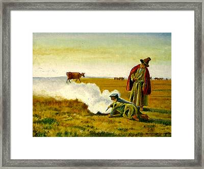 Framed Print featuring the painting The Autumn by Henryk Gorecki