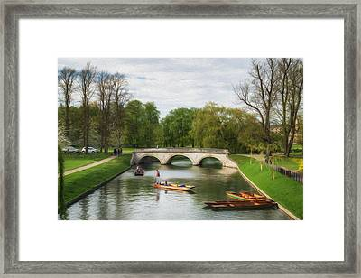 The Avenue Bridge Over River Cam In Front Of Trinity College Cambridge Digital Painting Framed Print