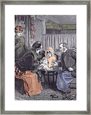 The Babies First Shoes 1891 Shoeshop Shoe Seller Mother Framed Print