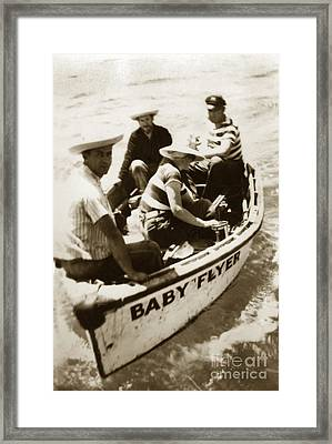 The Baby Flyer With Ed Ricketts And John Steinbeck  In Sea Of Cortez  1940 Framed Print