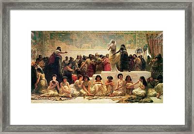 The Babylonian Marriage Market, 1875 Framed Print by Edwin Longsden Long