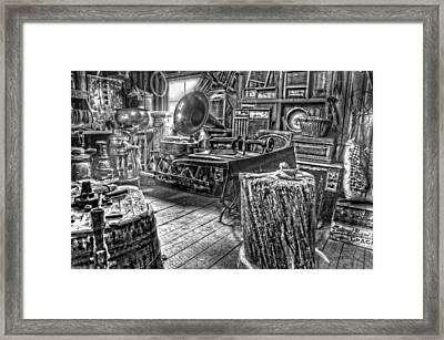The Back Room Black And White Framed Print