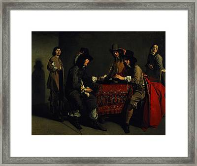 The Backgammon Players Oil On Canvas Framed Print by Antoine and Louis Le Nain