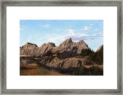 The Badlands In South Dakota Oil Painting Framed Print