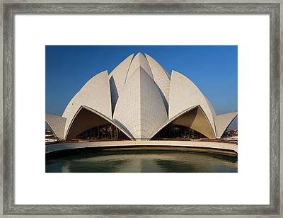 The Bahai Lotus Flower Temple, Centre Framed Print by Peter Adams