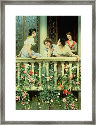 The Balcony Framed Print by Eugen von Blaas