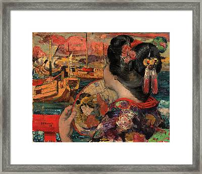 The Balcony, Yokohama Signed And Dated In Black Paint Framed Print by Litz Collection