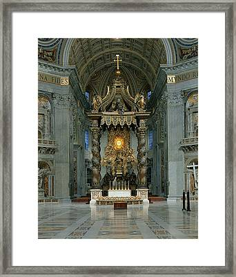 The Baldacchino, The High Altar And The Chair Of St. Peter Photo Framed Print