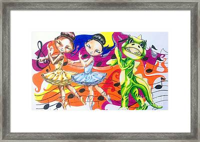 The Ballerinas And The Dragon Tale Framed Print