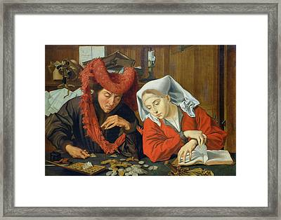 The Banker And His Wife Framed Print by Marinus van Roejmerswaelen