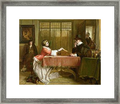 The Bankers Private Room, Negotiating Framed Print by John Callcott Horsley