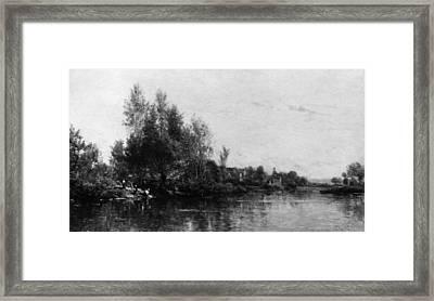 The Banks Of The Oise Framed Print by Charles-Fran�ois Daubigny