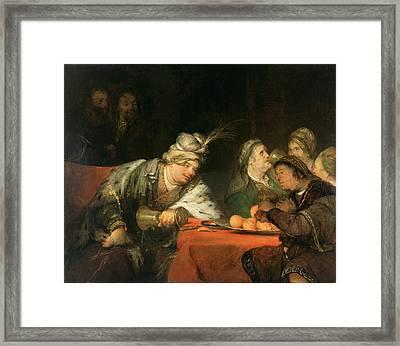 The Banquet Of Ahasuerus Aert De Gelder Framed Print