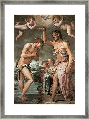 The Baptism Of Christ Framed Print by Giorgio vasari