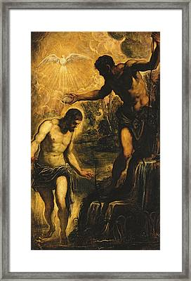 The Baptism Of Christ Framed Print by Jacopo Robusti Tintoretto